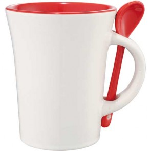 Dolce Ceramic Mugs With Spoon | 10 oz - White with Red Trim