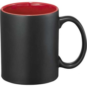 Maya Ceramic Mugs | 11 oz - Black with Red Trim