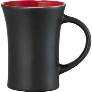 Dakota Ceramic Mugs | 10 oz - Black with Red Lining