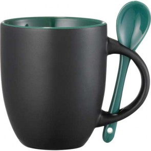 Canyon Ceramic Mugs with Spoon   12 oz - Black with Green Lining