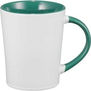 Aura Ceramic Mugs   14 oz - White with Green Trim