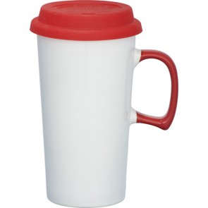 Mambo Ceramic Mugs | 17 oz - White with Red Lid