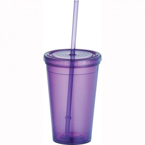 Tumblers with Straw | 16 oz - Purple