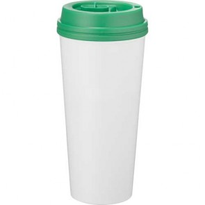 Good To Go Travel Tumblers | 16 oz - White with Green Lid