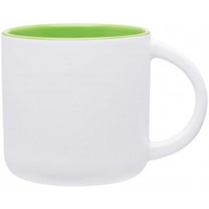 Minolo Mugs - Matte White   14 oz - Lime Green