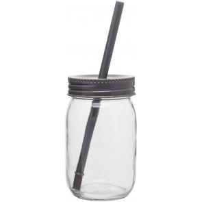 Glass Mason Jar With Color Lid | 16 oz - Storm Gray