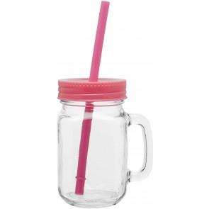 Glass Mason Mugs With Handle | 16 oz - Neon Pink