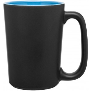 Rocca Ceramic Mugs - Matte Black | 15 oz - Sky Blue