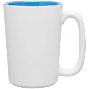 Rocca Ceramic Mugs - Matte White | 15 oz - Sky Blue