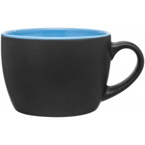 Bolzano Ceramic Mugs - Matte Black | 18 oz - Sky Blue