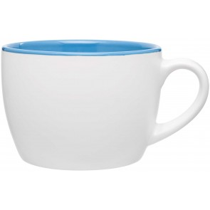 Bolzano Ceramic Mugs - Matte White | 18 oz - Sky Blue