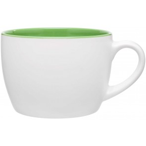 Bolzano Ceramic Mugs - Matte White | 18 oz - Lime Green