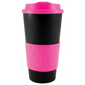 Grip N Go Bold | 16 oz - Black with Neon Pink