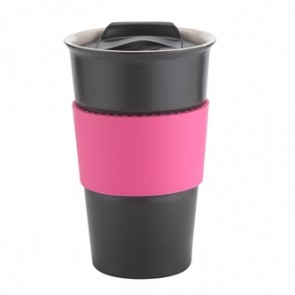 Java | 12 oz - Black with Pink Gripper