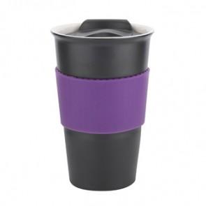 Java | 12 oz - Black with Purple Gripper