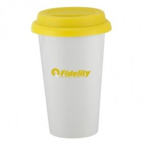 I`m Not A Plastic Cup | 10 oz - White with Yellow Lid