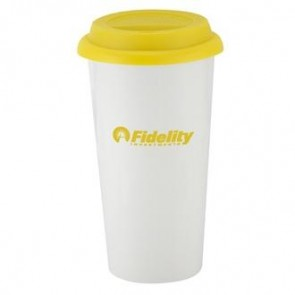 I`m Not A Big Plastic Cup | 16 oz - White with Yellow Lid