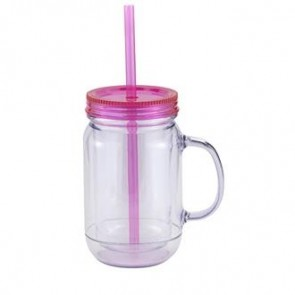 Mason Master | 20 oz - Clear with Hot Pink Lid