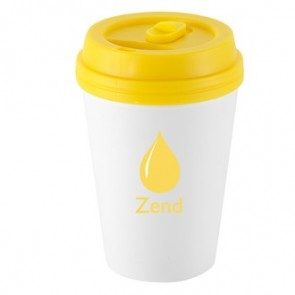 I`m Not A Paper Cup | 10 oz - White with Yellow Lid