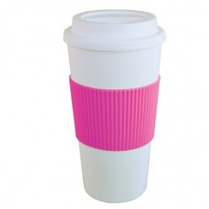 Brazilian | 16 oz - White with Hot Pink Grip