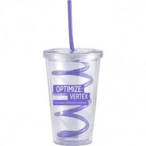 Slurpy With Crazy Straw | 16 oz - Clear with Purple Crazy Straw