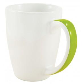Java Stripe Mugs   12 oz - White with Lime Green Stripe