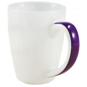 Java Stripe Mugs | 12 oz - White with Purple Stripe