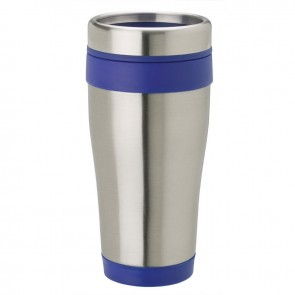 Stainless Steel Tumblers   14 oz - Stainless Steel with Blue Band