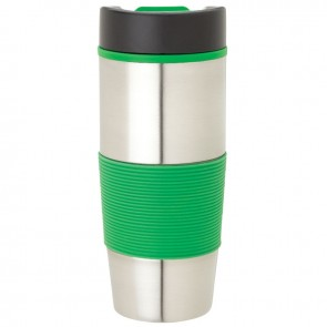 Steel & PP Tumblers | 16 oz - Stainless Steel with Green Rubber Grip