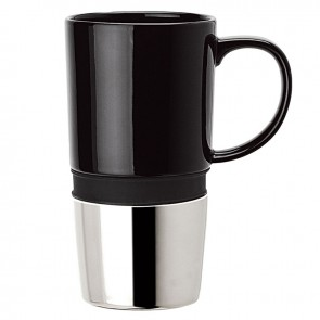 Ceramic Mugs | 16 oz - Ceramic Body with Black Silicone Band