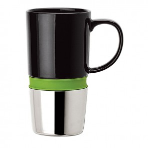 Ceramic Mugs | 16 oz - Ceramic Body with Green Silicone Band