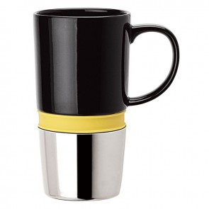 Ceramic Mugs | 16 oz - Ceramic Body with Yellow Silicone Band