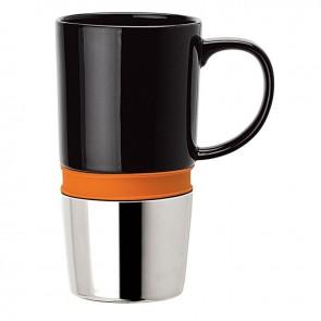 Ceramic Mugs   16 oz - Ceramic Body with Orange Silicone Band