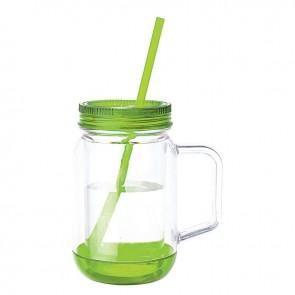 Handled Mason Jar Mugs   17 oz - Clear Jar with Lime Green Lid