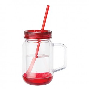 Handled Mason Jar Mugs | 17 oz - Clear Jar with Red Lid