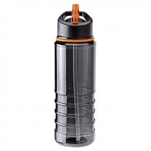 Tritan Water Bottles  25 oz - Charcoal Bottles with Orange Drinking Spout