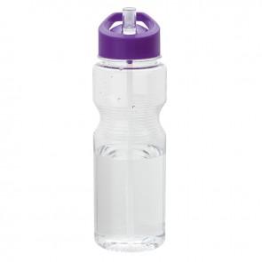 Tritan Water Bottles | 24 oz - Clear Bottles with Purple Lid