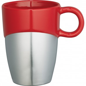 Double Dipper Ceramic Mugs with Stainless Base | 11 oz - Red