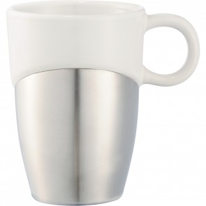 Double Dipper Ceramic Mugs with Stainless Base | 11 oz - White