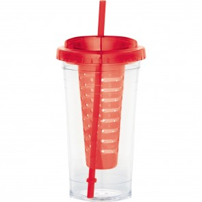 Personalized Fruit Infuser Tumblers | 24 oz - Red