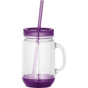 Game Day Double-Wall Mason Jar | 20 oz - Clear with Purple Lid