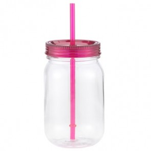 Classic Mason | 24 oz - Clear with Hot Pink Lid