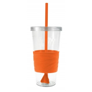 Revolution Tumblers | 24 oz - Clear with Orange Rubber Grip