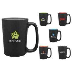 Custom Coffee Mugs - Rocca Ceramic Mug - Matte Black | 15 oz