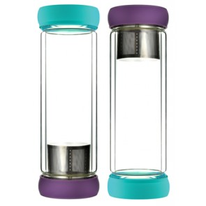 Double Wall Glass Tea Bottles Teal-Purple