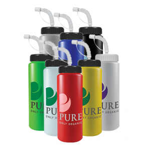 Personalized Promo Water Bottles - The Sports Quart - 32 oz Bottle Colors (Straw Lid)