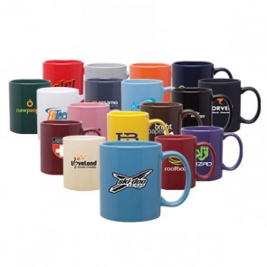 11 oz custom logo glossy c-handle mug