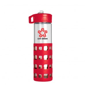 Sip-N-Go Glass Water Bottles | 20 oz - Red