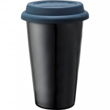 Blue Branded Black Ceramic Tumblers | 11 oz