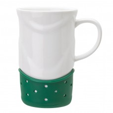 Green Ceramic Mugs | 14 oz - White with Green Base